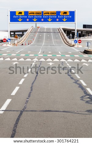 road at the ferry port in Calais, France
