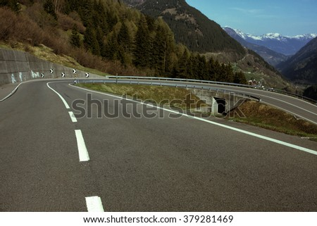 road at the mountains in Italy