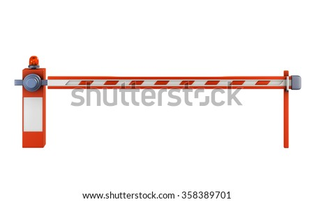Road barrier isolate on white background. Closed gate on the road with a light signal. 3d illustration. - stock photo