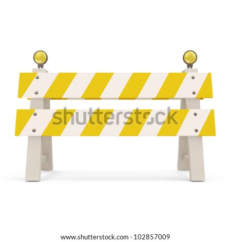Road Barrier on white background - stock photo