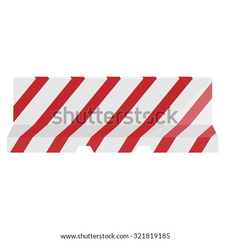Road barrier striped red and white raster illustration. Traffic barrier. Road block. - stock photo