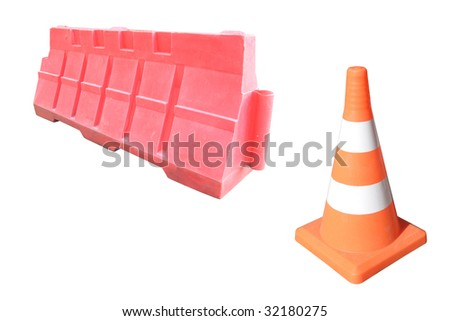 road barriers under the white background - stock photo