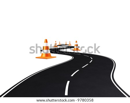 road between traffic cones on white background - stock photo