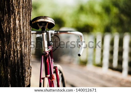 Road bicycle on city street. Vintage retro fixed gear bike and tree in park, urban scene, vintage old retro bike, cycling or commuting in city urban environment, ecological transportation concept - stock photo