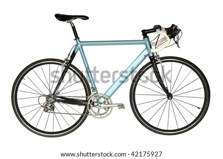 Road bicycle Sports road bicycle of blue color, isolated on business a background. - stock photo