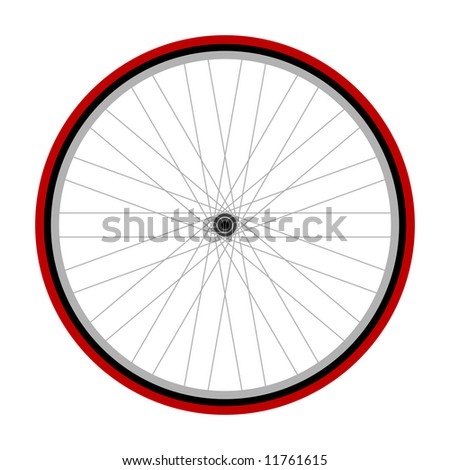 Road bicycle wheel illustration on white background