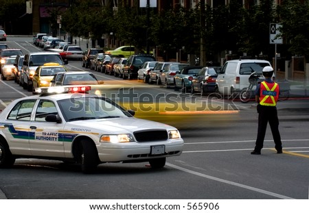 Road block by traffic police - stock photo