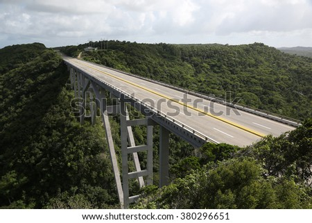 Road Bridge in Cuba with no traffic - stock photo