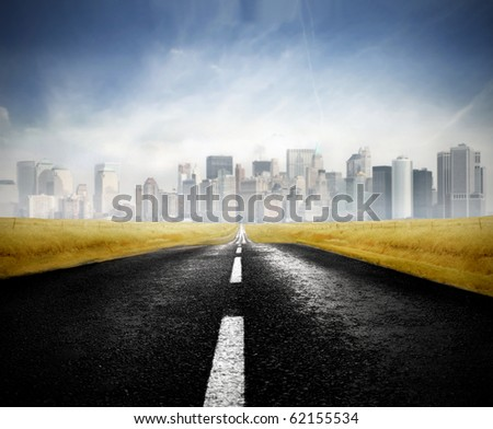 Road bringing to a big city