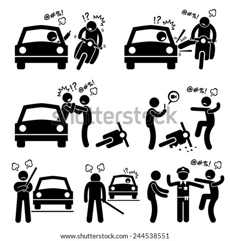 Road Bully Driver Rage Stick Figure Pictogram Icons - stock photo
