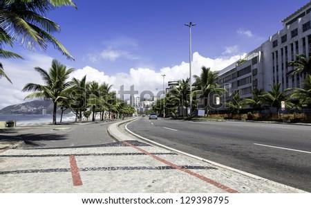 Road by Ipanema Beach in Rio de Janeiro, Brazil - stock photo