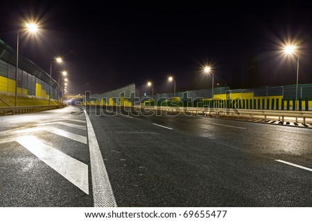 Road by night - stock photo
