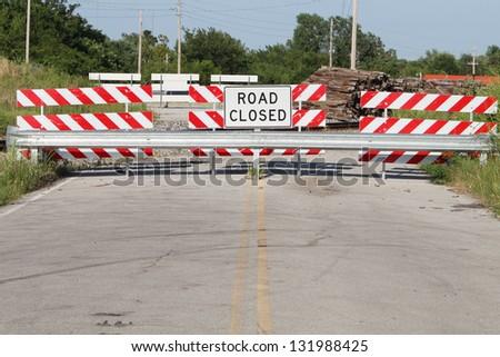 Road closed - stock photo