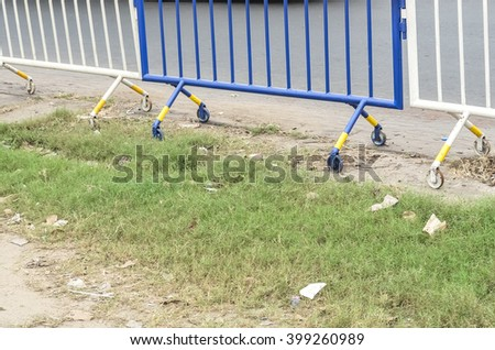 Road closed barrier. - stock photo