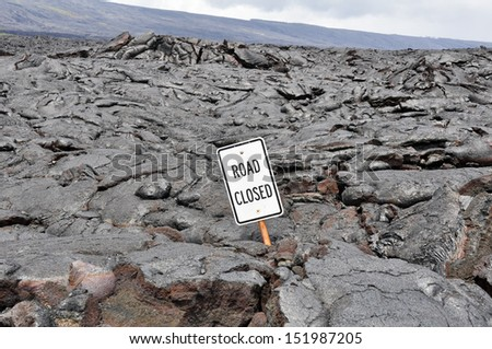 Road closed by lava in Hawaii Volcanoes National Park (USA) - stock photo