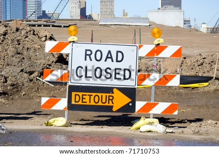 Road Closed Detour Sign - stock photo