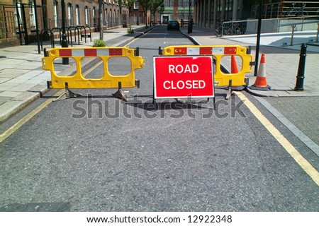 Road Closed sign on a street of London - stock photo