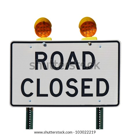 Road closed sign with orange lights against a white background square - stock photo