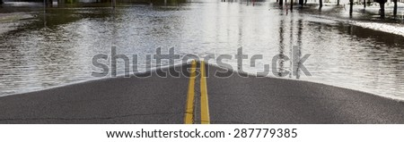 Road Closure From Flooding  - stock photo