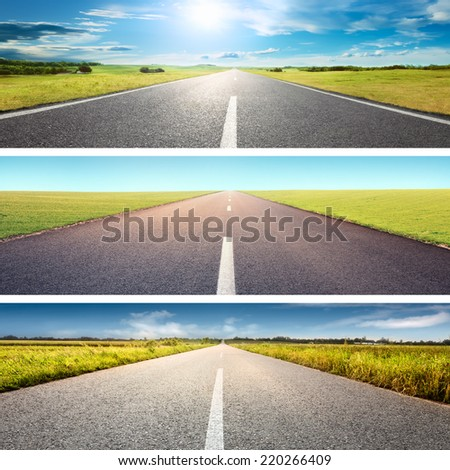 Road collage concept. Driving on an empty asphalt road at sunny day - stock photo