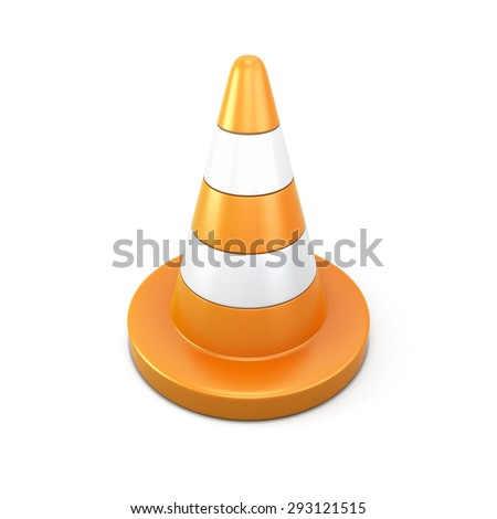Road cone clipping path. 3d render image. Road elements series. - stock photo