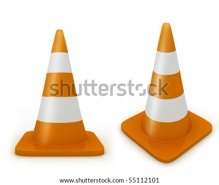 Road cone frontal and diagonal view - stock photo