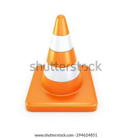 Road cone isolated on white background. 3d illustration.