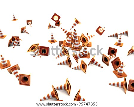 road cones isolated on white background - stock photo