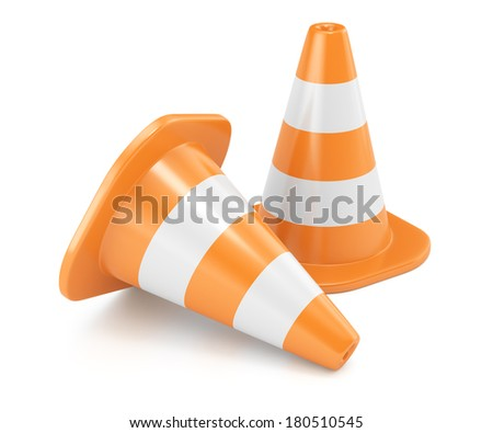 Road cones isolated on white background. 3d render