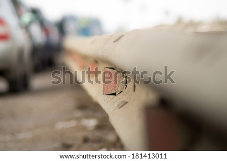 Road congestion. Fencing with reflector. - stock photo
