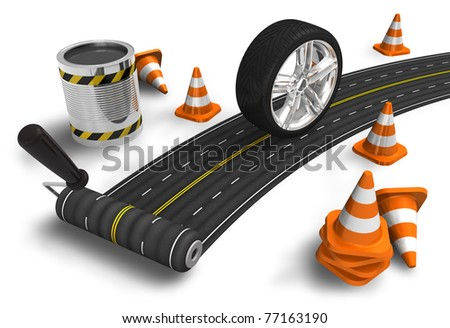 Road construction concept - stock photo