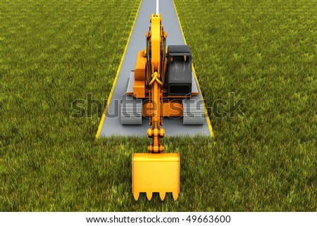 Road construction. Excavator on the road in the grass. Concept render
