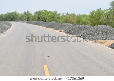 Road Construction Gravel  piles; Construction industry; Building materials