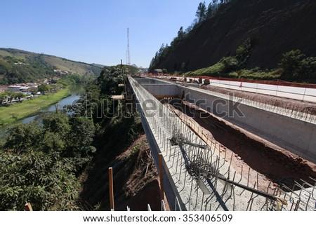 road construction near city inside brazil - stock photo