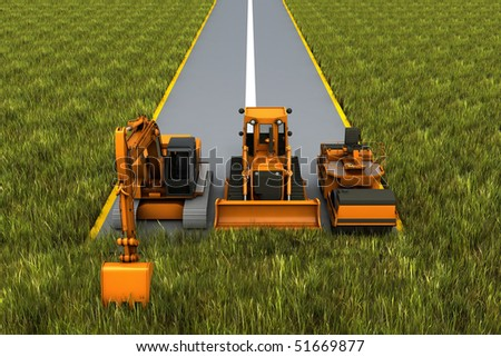 Road construction. Road machinery on the road in the grass. Concept render - stock photo