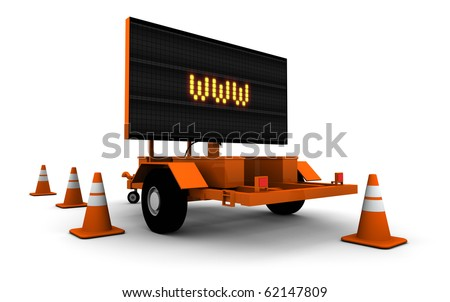 Road construction sign with WWW displayed.