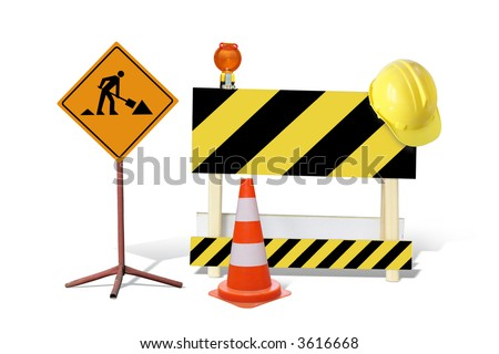 Road construction sign, yellow and black striped barrier with warning light and yellow helmet, marker post isolated on white - stock photo