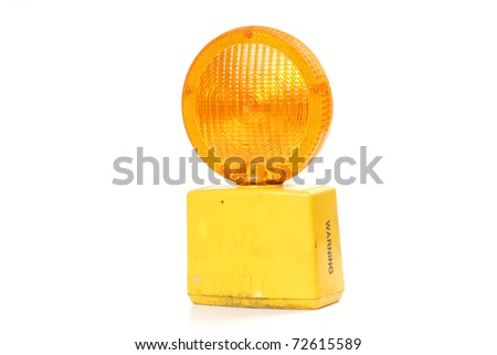 road construction yellow light - stock photo