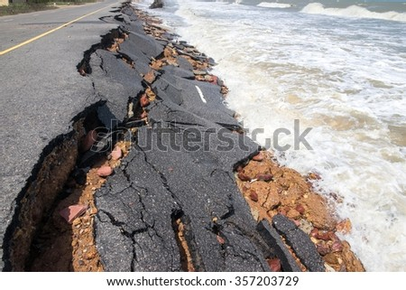 Road crash of waves and wind. - stock photo