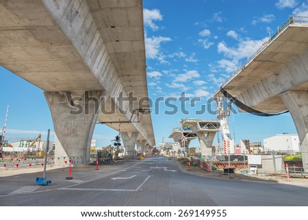 road currently under construction at several levels to increase traffic - stock photo