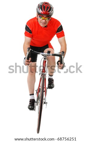 Road cycler isolated on white background - stock photo