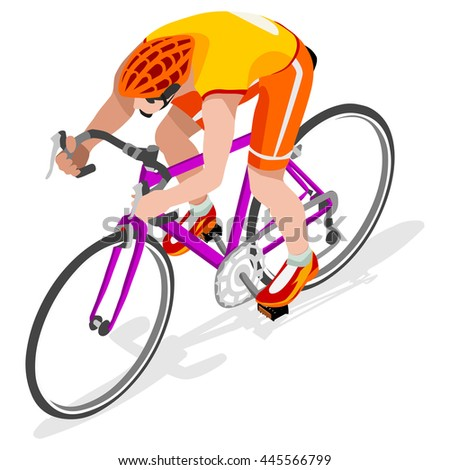 Road Cycling Cyclist Bicyclist Athletes 2016 Summer Games Brasil.3D Isometric Athlete.Sporting Championship International Competition.Brazil Sport Infographic Road Cycling Race olympics Image - stock photo