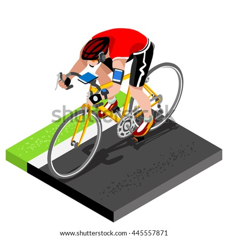Road Cycling Cyclist Working Out.3D Flat Isometric Cyclist on Bicycle. Outdoor Working Out Road Cycling Exercises. Cycling Bike for Bicyclist athlete Working Out training Image - stock photo