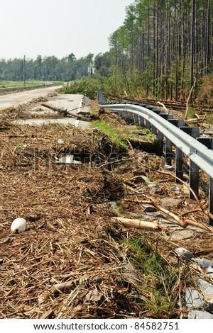 Road damaged by hurricane Irene - stock photo