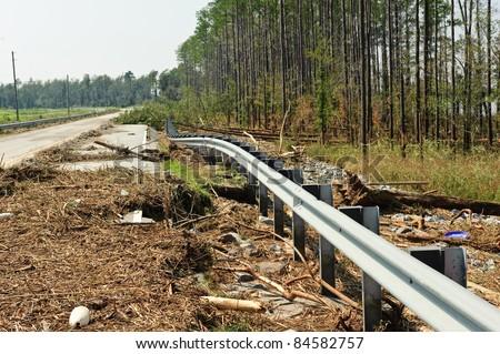 Road damaged during hurricane Irene - stock photo