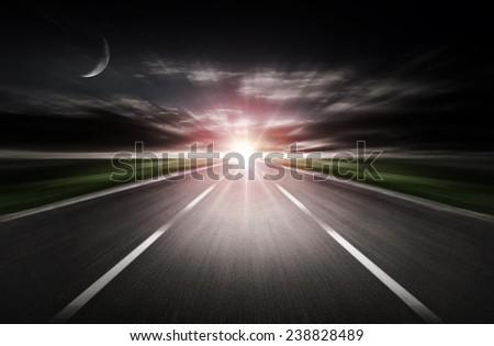 road dark night - stock photo