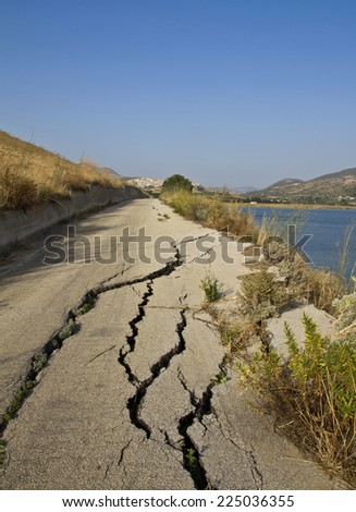 Road destroyed by a landslide in Sicily  - stock photo