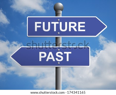 Road directional sign pointing to the future and the past - stock photo