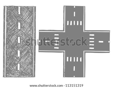 Road. Doodle style. Raster version - stock photo