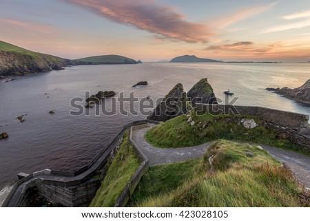 Road Down to Dunquin Harbor with Blasket Island, Dingle Peninsula, Ireland - stock photo